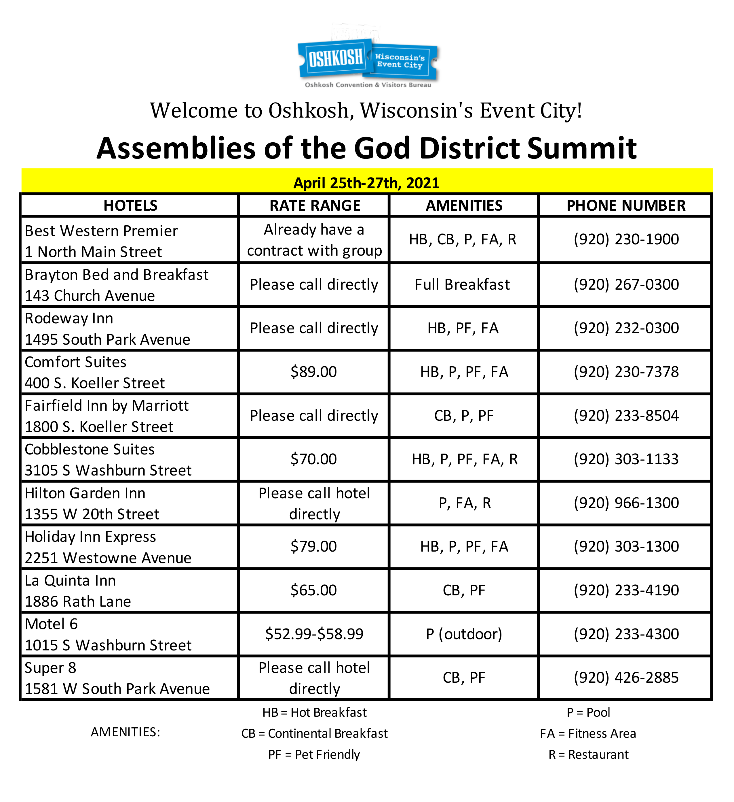 2021 Summit Hotel List